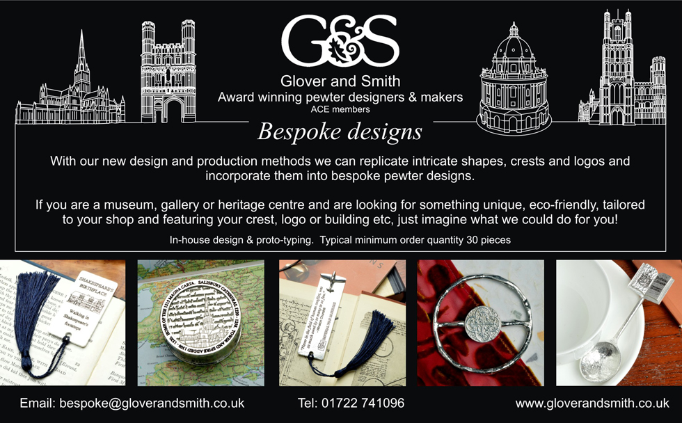 Bespoke Pewter Designs Advert in Heritage Shop Catalogue Autumn 2019