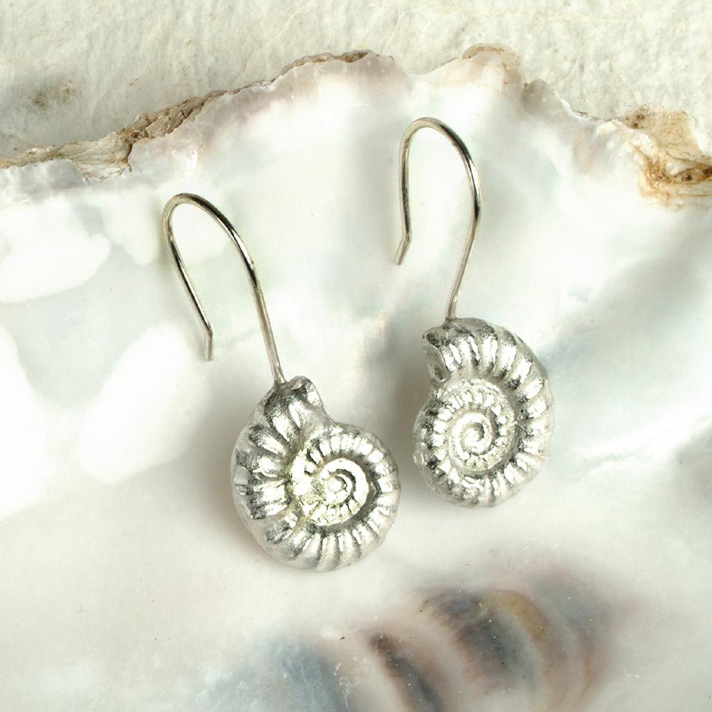 ammonite fossil drop earrings uk made seashore jewell