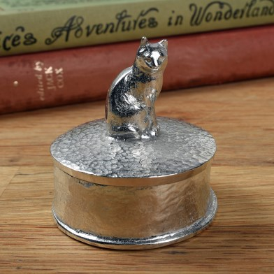 Cat Gifts Personalised English Pewter Pussycat Trinket Box | Image 1