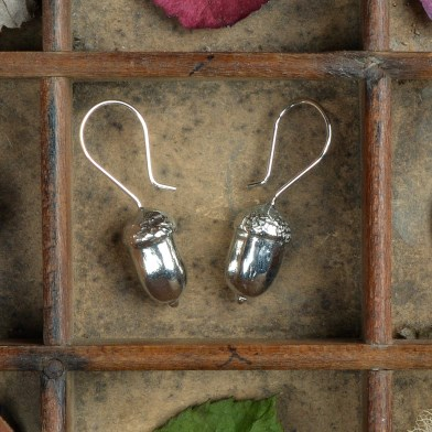 Acorn Drop Earrings, English Pewter Acorn Jewellery Gifts | Image 1