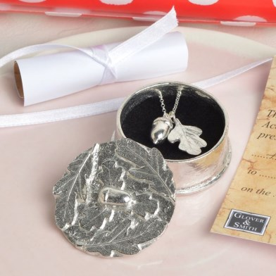 Acorn Oak Leaf Christening Necklace in Personalised Pewter Box | Image 1