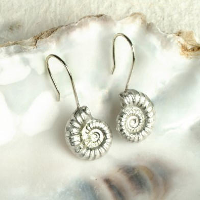 Ammonite Fossil Drop Earrings, English Pewter Ammonite Gifts | Image 1