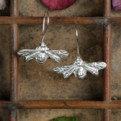 Bee Drop Earrings English Pewter Bee Jewellery Gifts | Image 1