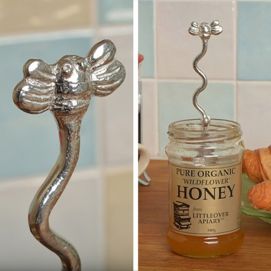 Bee Pewter Spoon Long Honey Jar Spoon with a Hook | Image 1