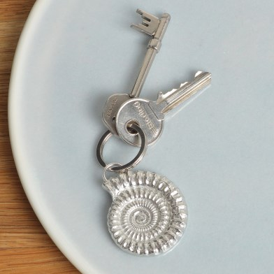 Ammonite Keyring English Pewter Fossil Keyring Gifts | Image 1