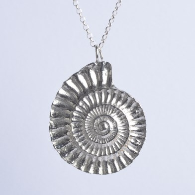 Ammonite Necklace, Pewter and Silver Fossil Jewellery Gifts | Image 1