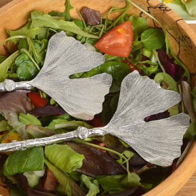 Ginkgo Leaf Salad Servers Pewter Spoons Gifts | Image 1