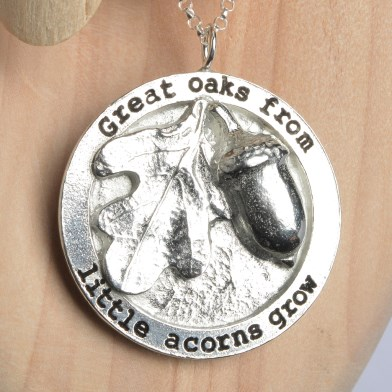 Great Oaks from Little Acorns Grow Necklace English Pewter Gifts | Image 1