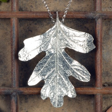 Hawthorn Leaf Necklace, Pewter and Silver Leaf Jewellery UK Handmade | Image 1