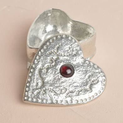 Heart Pewter Trinket Box Personalised with Garnet Stone | Image 1