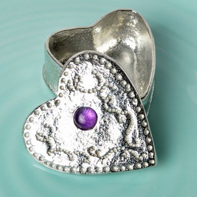 Personalised Heart Pewter Trinket Box with Amethyst | Image 1
