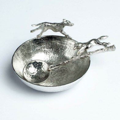 Pewter Hound Bowl and Pewter Fox Spoon | Image 1