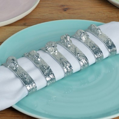 English Pewter Hungry Animals Napkin Rings Set of 6 | Image 1