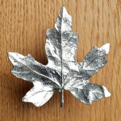 Maple Leaf Cabinet Handle Solid Pewter Door Knobs | Image 1