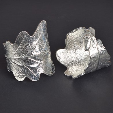 English Pewter Oak Leaf and Acorn Napkin Ring Pair Gifts | Image 1