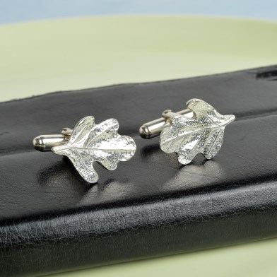 Pewter Oak Leaf Cufflinks, English Pewter Cufflink Gifts For Men | Image 1