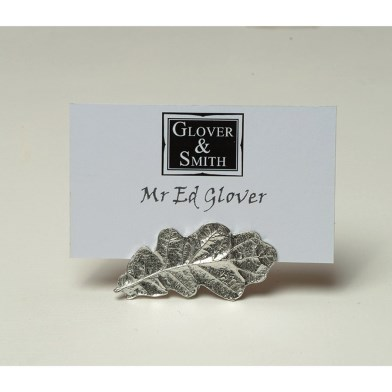 Oak Leaf Pewter Place Setting Pewter Photo Holders | Image 1
