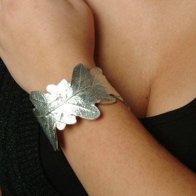 Pewter Oak Leaf Cuff Bangle, Oak Leaf Bracelet UK Hand Crafted | Image 1