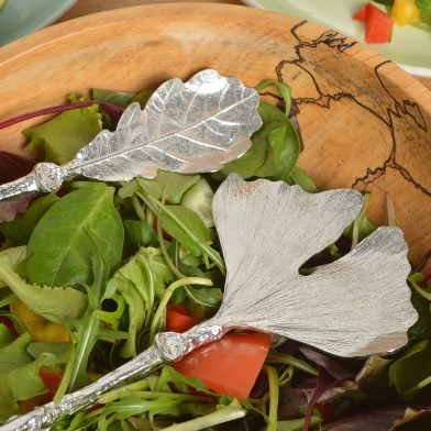 Ginkgo and Oak Leaf Salad Servers | Image 1