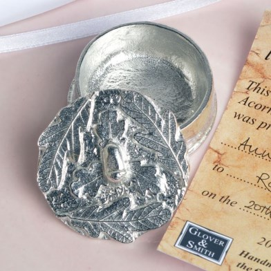'From Little Acorns' Christening Pewter Trinket Box Personalised | Image 1