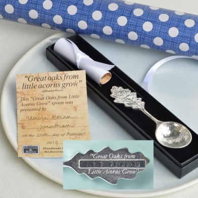 PERSONALISED 'From Little Acorns' Christening Spoon | Image 1