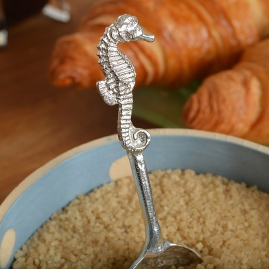 Seahorse Pewter Spoon, Modern English Pewter Sugar Spoon Gifts | Image 1