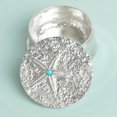 Starfish Pewter Trinket Box with Turquoise Stone | Image 1
