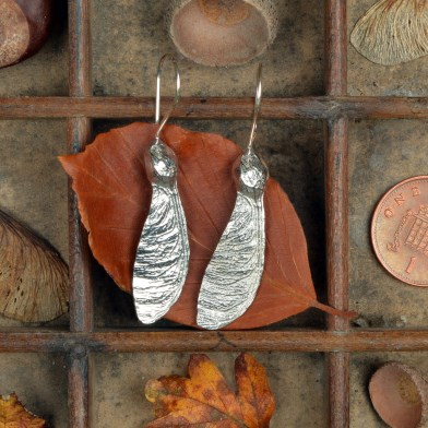 Sycamore 'Helicopter' Earrings. English Pewter Sycamore Key Gifts | Image 1