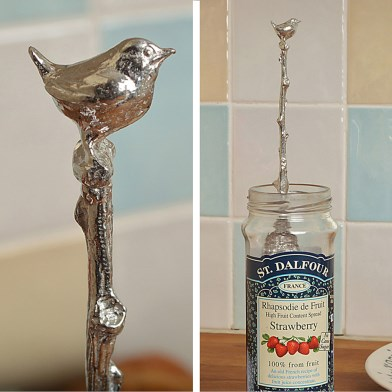 Wren Bird Spoon Long Jam Pewter Spoon with a hook for Jars | Image 1