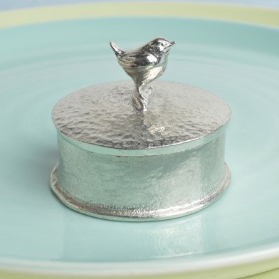 Wren Bird English Pewter Trinket Box Personalised | Image 1