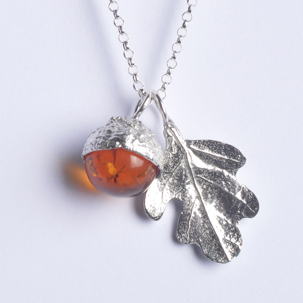 sterling necklace acorn and silver pendant amber