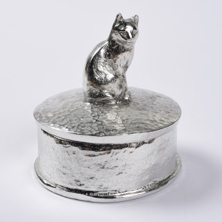Cat Gifts Personalised English Pewter Pussycat Trinket Box | Image 2