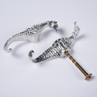 Seahorse Pewter Door Handle Right Facing | Image 4