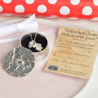 Acorn Oak Leaf Christening Necklace in Personalised Pewter Box | Image 2