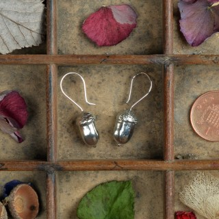 Acorn Drop Earrings, English Pewter Acorn Jewellery Gifts | Image 3