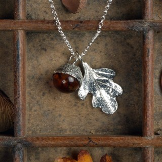 Oak Leaf Pewter Necklace With Amber Acorn | Image 2