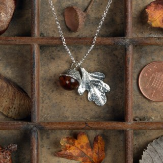 Oak Leaf Pewter Necklace With Amber Acorn | Image 4