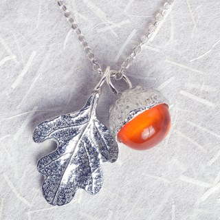 Oak Leaf Pewter Necklace With Amber Acorn | Image 3