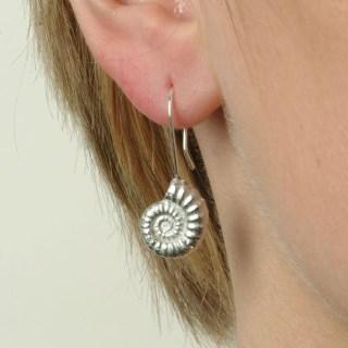 Ammonite Fossil Drop Earrings, English Pewter Ammonite Gifts | Image 5