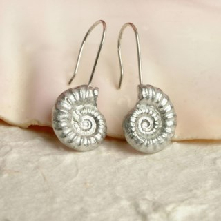 Ammonite Fossil Drop Earrings, English Pewter Ammonite Gifts | Image 4