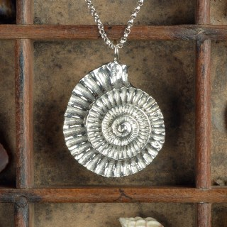 Ammonite Necklace, Pewter and Silver Fossil Jewellery Gifts | Image 2