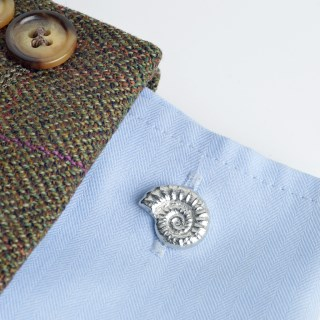 Ammonite Fossil Pewter Cufflinks, Gifts for Geologists | Image 3