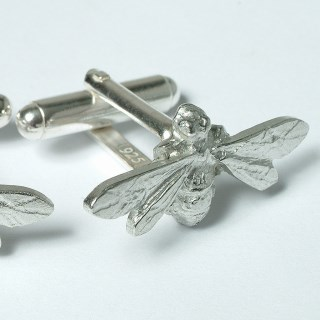 Bee Cufflinks, English Pewter Bee Gifts for Men UK Handmade | Image 2