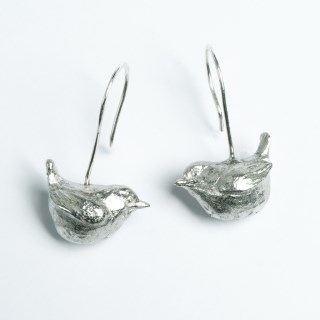 Wren Bird Drop Earrings, English Pewter Gifts For Bird Lovers | Image 2