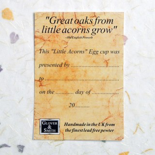 Personalised 'From Little Acorns' English Pewter Christening Egg Cup | Image 6