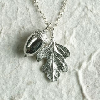 Acorn and Oak Leaf Christening Necklace 'From Little Acorns' Gifts for Girls | Image 3