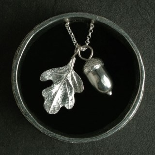 Acorn Oak Leaf Christening Necklace in Personalised Pewter Box | Image 5