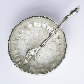 Pewter Urchin Shell Bowl with Tiny Pewter Spoon | Image 2