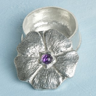 Flower Pewter Trinket Box with Amethyst Stone | Image 2