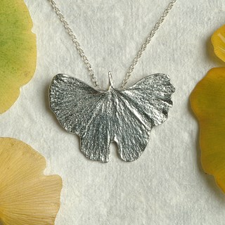 Ginkgo Leaf Necklace Pewter Jewellery UK Handmade | Image 3